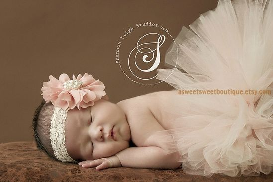 Vintage Peaches And Cream Tutu Newborn Tutu Custom Made With Matching Vintage Style Flower Headband Stunning Newborn Photo Prop. $45.00, via Etsy.