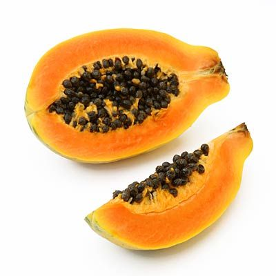 Superfoods -- PAPAYAS.  Why they're super: Trying to get more vitamin C in your diet? One cup of papaya cubes supplies more than 100% of your daily requirement, as well as a hefty dose of potassium and folate. It is also a good source of Vitamins A & E, two powerful antioxidants that protect against heart disease and colon cancer.       How to enjoy them: Savor the rich, buttery flesh of this tropical fruit in smoothies and salads, or simply scoop it out of the shell with a spoon.