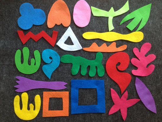 Abstract Art Felt Board Pieces, Abstract Felt Shapes, Kids Art Manipulative, Felt Board Set, Felt Board Game