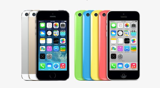 The iPhone 5C and 5S. I like the gold one!