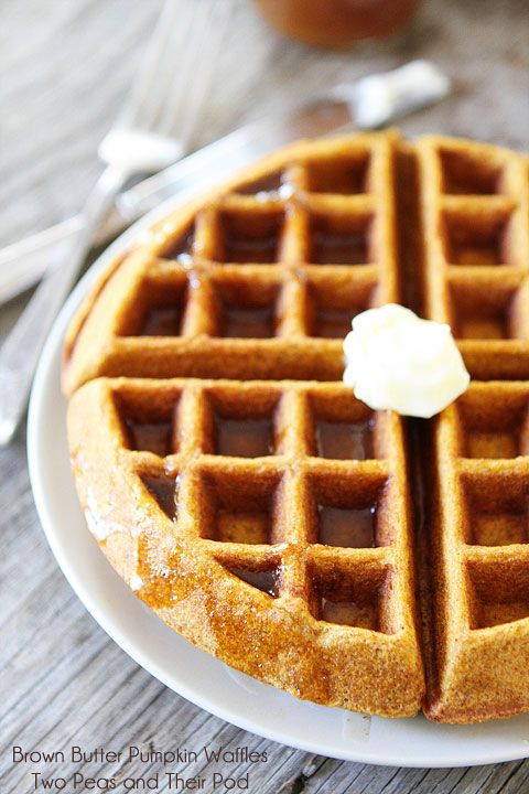 Brown Butter Pumpkin Waffles @Maria Canavello Mrasek (Two Peas and Their Pod)