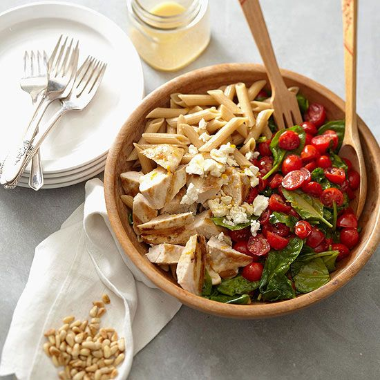 Pasta with Chicken, Spinach, Tomatoes, and Feta is a delicious and nutritious meal! More healthy chicken recipes: www.bhg.com/...