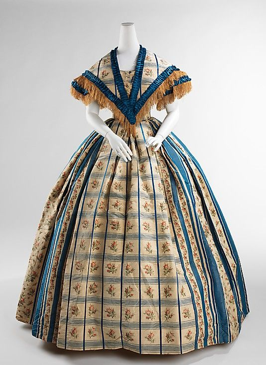 Evening Dress 1857, American, Made of silk