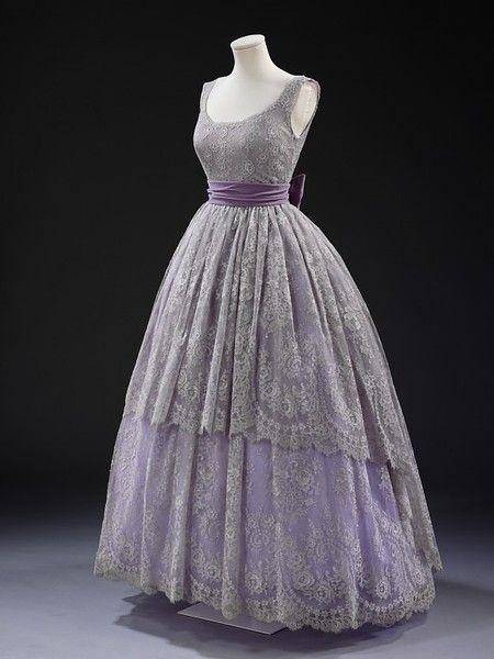 pale violet lace evening dress, jacques fath, 1957