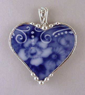 Heart pendant made from antique Flow Blue china by Dishfunctional Designs