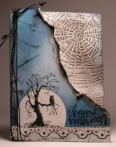 very cool Halloween card!  Spooky tree with owl, spiderweb embossing folder