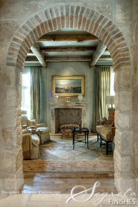 Home featuring Segreto's work.  All of the reclaimed elements from Chateau Domingue infuse it with such character and authenticity. From the fireplaces to the old stone and brick materials, this space is a true European Inspiration! Designer Eleanor Cummings