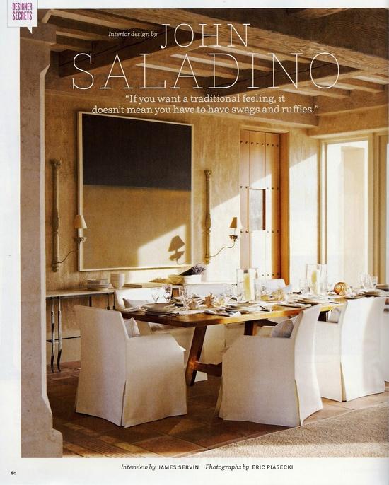 John Saladino dining room....love the slipcovers on the chairs.