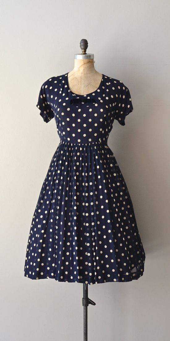 Pipette dress / 50s polka dot dress / vintage 1950s by DearGolden, $144.00
