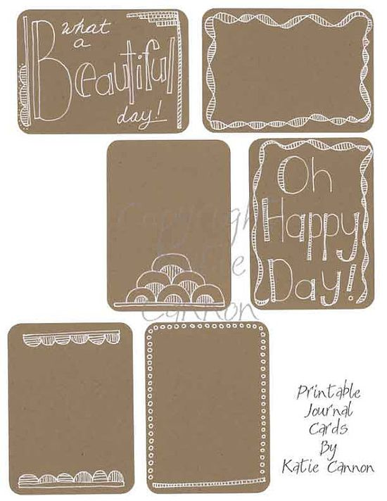 Brown Doodled Journal Cards Printable 3x4 Journal Filler Cards for Project Life, Project 365, or Scrap Life on Etsy, $1.50