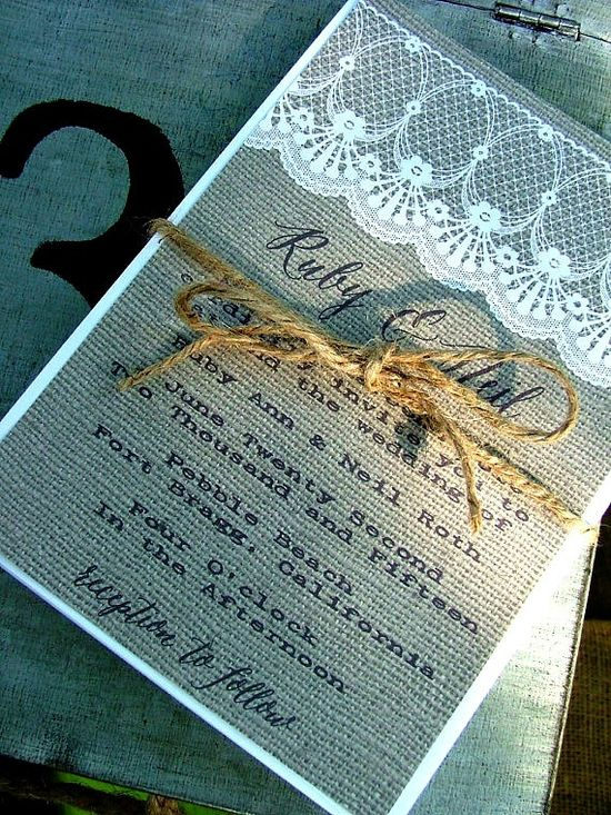 Burlap and Lace wedding invitation awesome by sweetinvitationco, $100.00