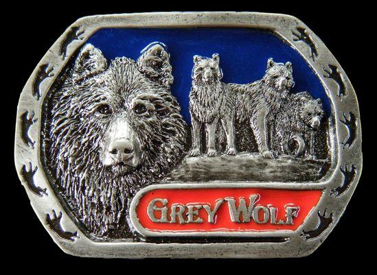 NORTH AMERICAN GREY LONE WOLF WILD ANIMAL BELT n BUCKLE