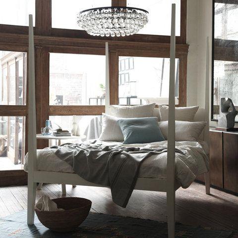 Glamorous Bedroom - Glass Chandelier - NYC Loft Apartment