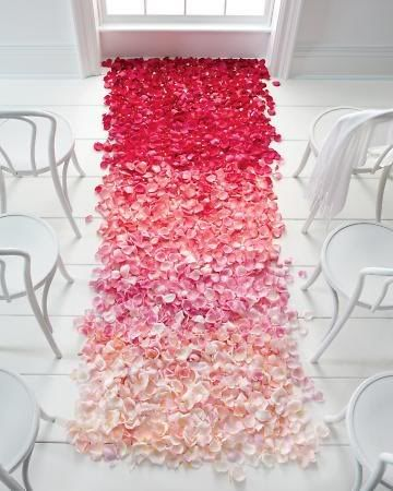 fuchsia ombre flower aisle