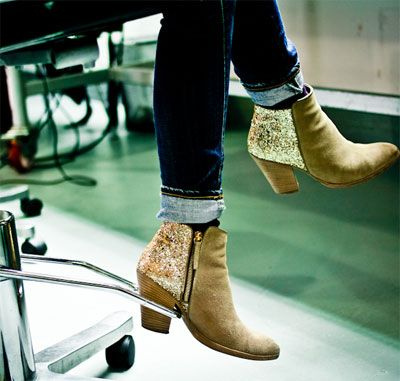 Glitter suede ankle boots ;)