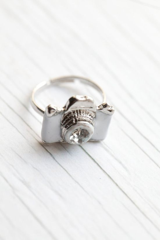 White Camera Ring $12.00, via Etsy
