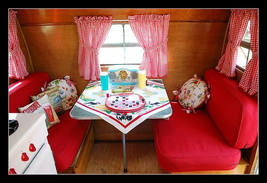 Vintage Trailer Interior ~ 1955 Trotwood travel trailer ? the pillows