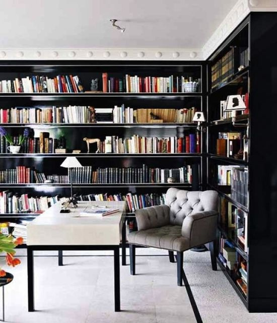 24 Cozy Library Designs For The Home. I would love to own this many books and have a library in my future home!