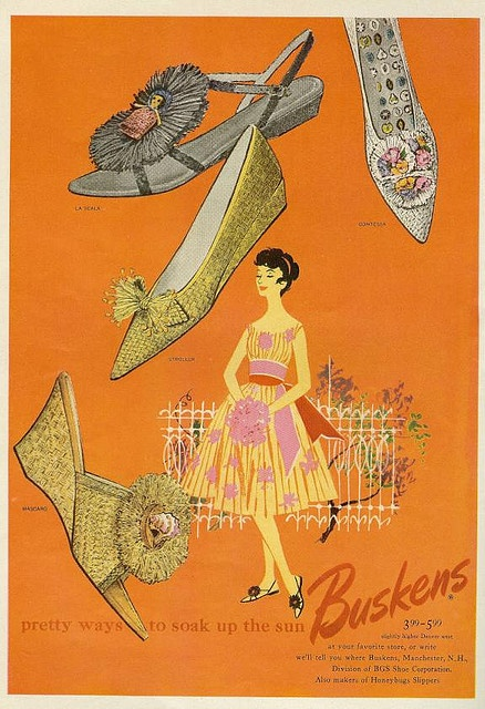 1959 Mademoiselle ad...love the orange and the yellow/pink dress