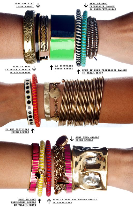 Kate Spade shares tips on how to artfully stack bangles.