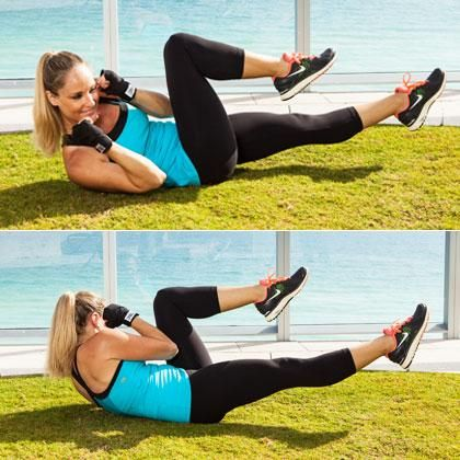 Really engage your core with these boxer bicycle crunches