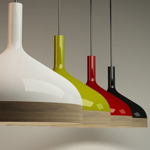 Porcelain and wood lampshades