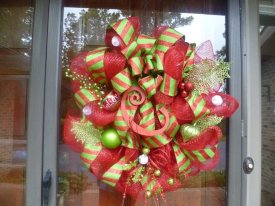 Monogrammed Christmas Wreath by LollyDotsBoutique on Etsy, $75.00