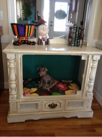 Old TV converted to pet bed! Love this!!