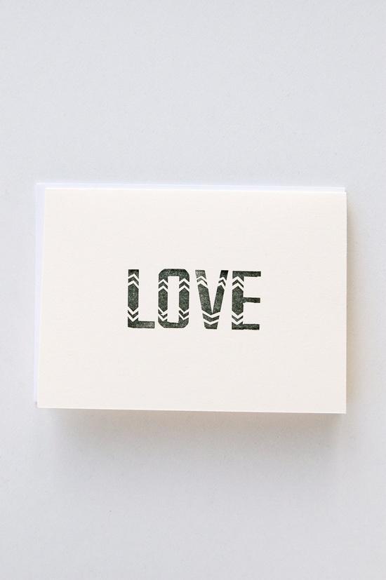 Letterpress 'Love' Note - Single Card. $5.00, via Etsy.