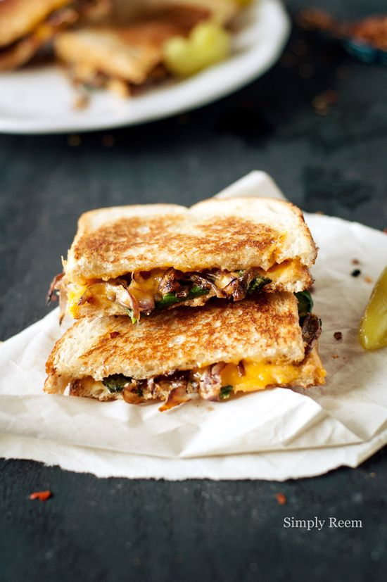 grilled cheese with caramelized onions and spinach