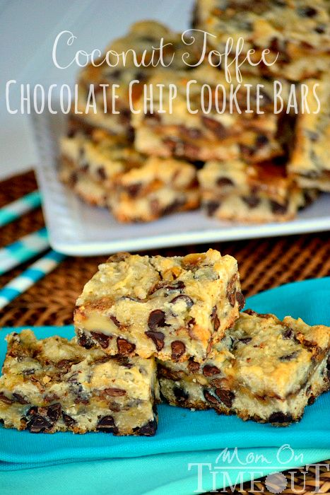 Coconut Toffee Chocolate Chip Cookie Bars from MomOnTimeout.com #recipes #dessert #cookie #bars