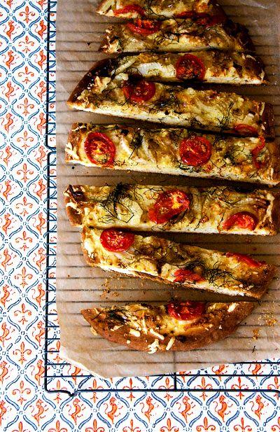 Caramelized fennel and tomato flatbread.