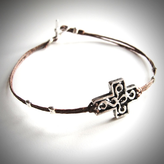 Silver Sideways Cross bracelet on linen (you choose the color!) from JewelryByMaeBee on Etsy.