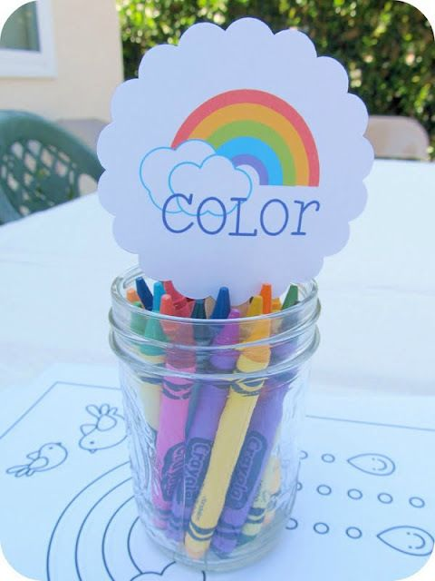 Crayons at a Rainbow Party #rainbow #partyactivities