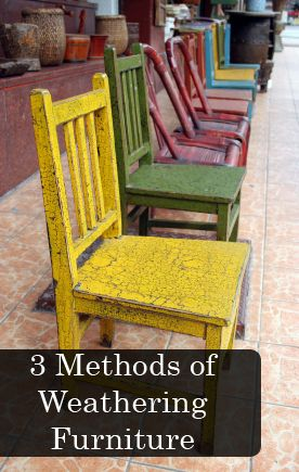 Sometimes, old furniture just has more character. Here are 3 methods of weathering furniture- great ideas!