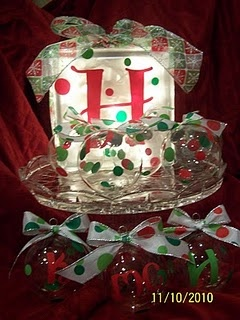 Christmas ornaments and glass block