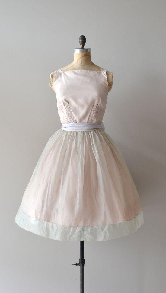 1950s Very pale pink sheer silk organza dress!