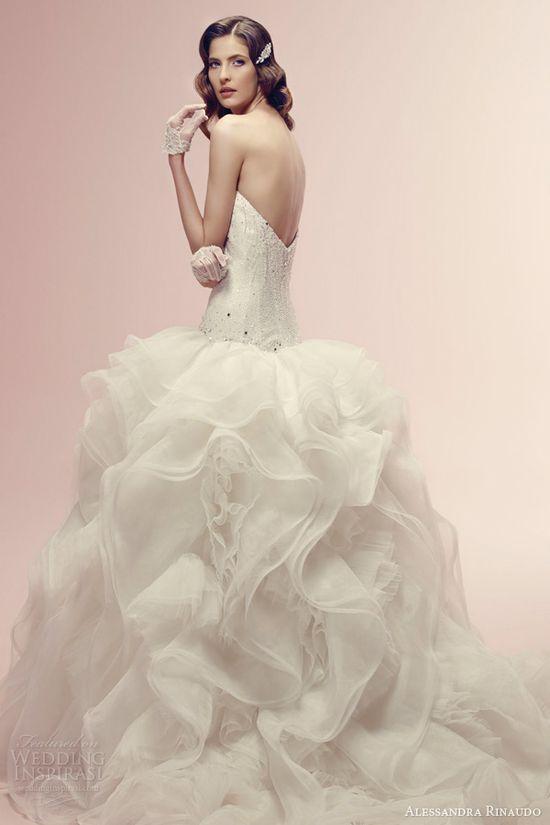 alessandra rinaudo wedding dress 2014 bridal rhea strapless gown ruffle skirt side view