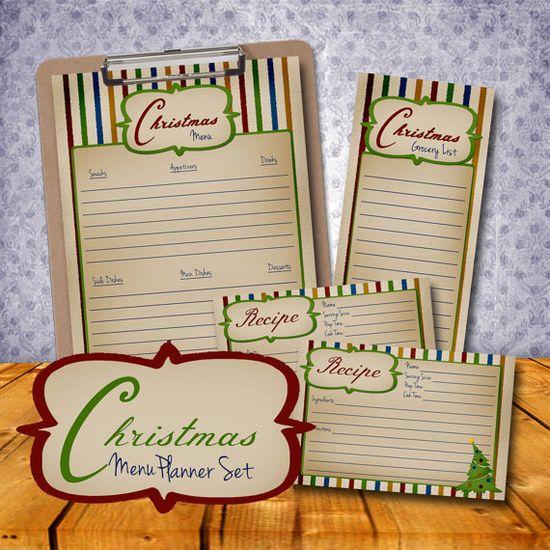 Printable Christmas Menu Planner Set Xmas Food by VLHamlinDesign
