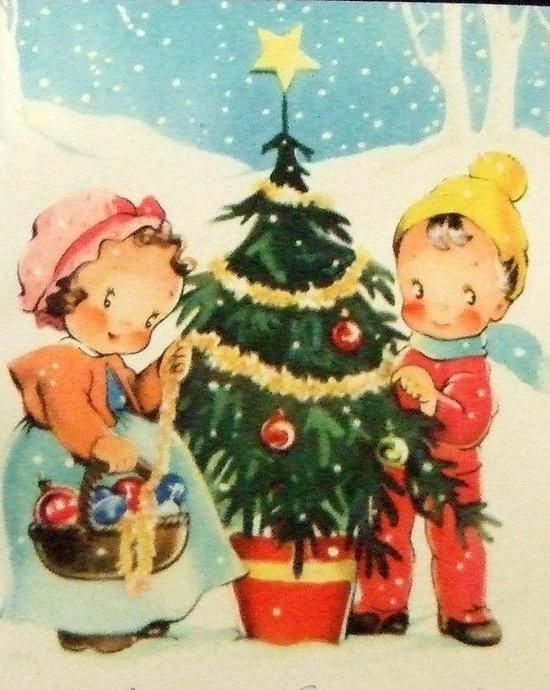 Christmas. Dressing the Tree.