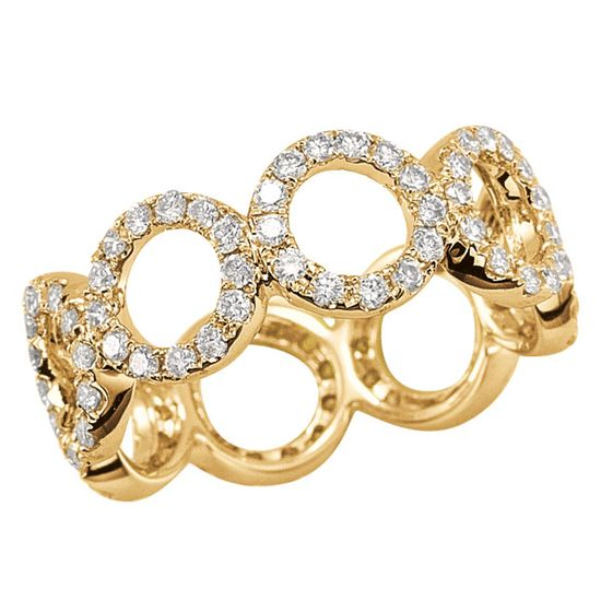 14K yellow gold ring by Dana Rebecca Designs, embellished with pavé diamonds