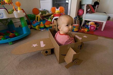 DIY cardboard box airplane.
