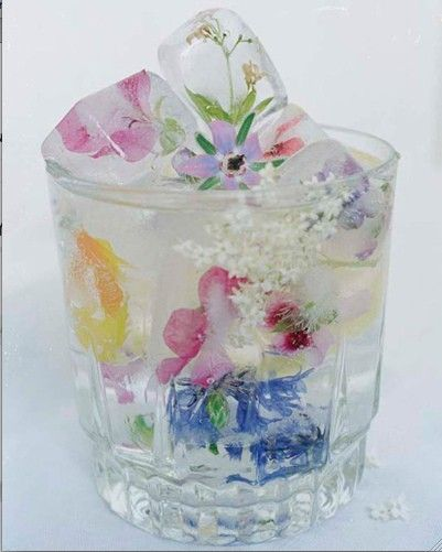 Small edible flowers frozen in ice cubes