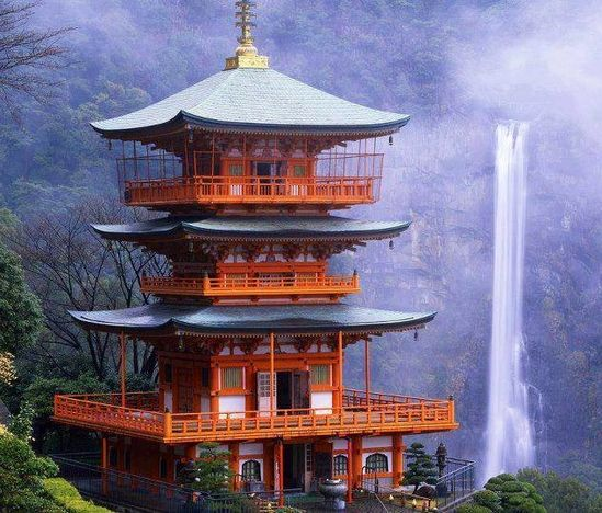 Japanese architecture by waterfall