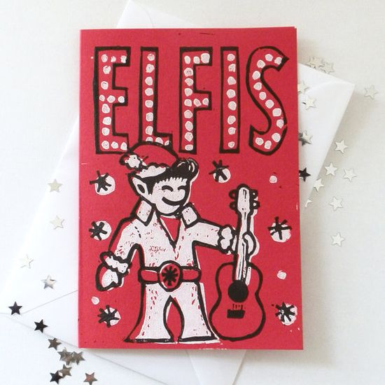 Elfis Linocut Christmas cards by Woah There Pickle