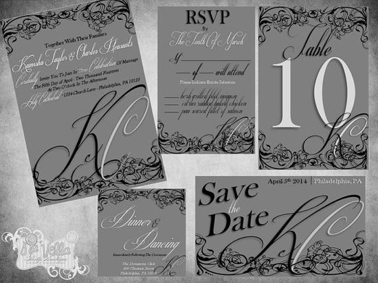 Classic & Romantic Wedding Invitation by NaVellaPartyBoutique