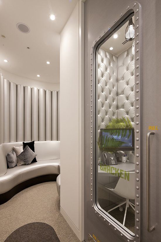 Office & Workspace, Awesome YouTube Office Design In London: Elegant Office Interior    Phone Booth Room