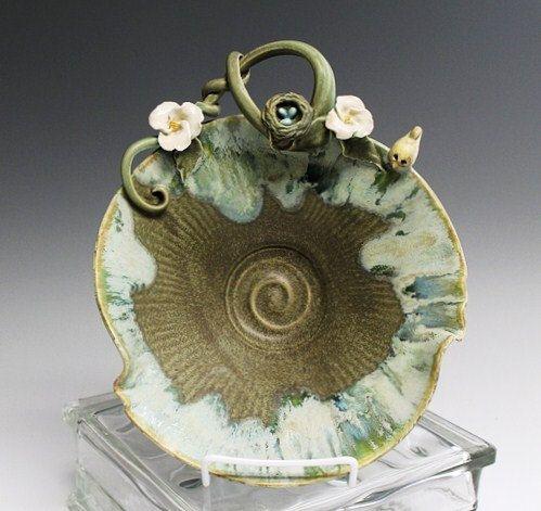BIRDS NEST Bird and Blossom Handmade Pottery by waukeshapottery, $49.00