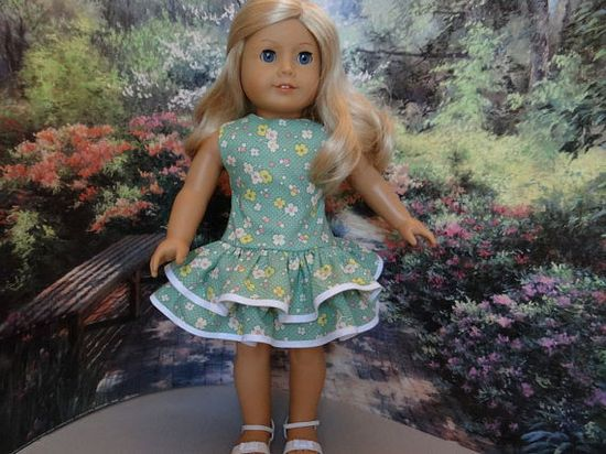 1930's ruffled play dress for American Girl by ValorieoftheDolls, $21.00