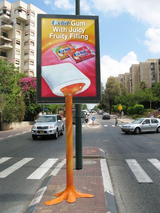 Orbit: Juicy street advertising sign. #AmbientMarketing #GuerrillaMarketing